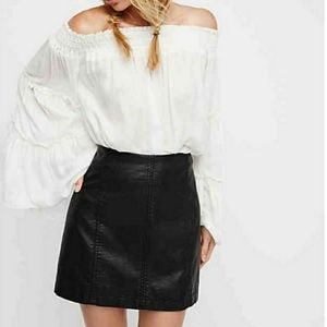 Free People NWT Modern Femme Vegan Faux Leather Skirt Size 10